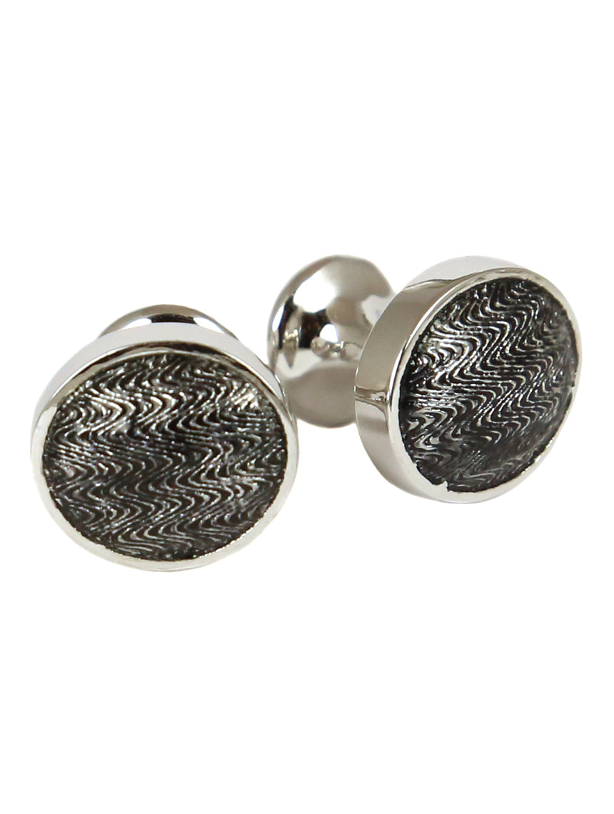 DÉCLIC Faberge Oval Cufflink - Sterling Silver/Black