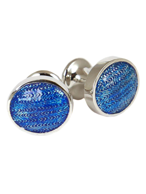 DÉCLIC Faberge Oval Cufflink - Sterling Silver/Blue