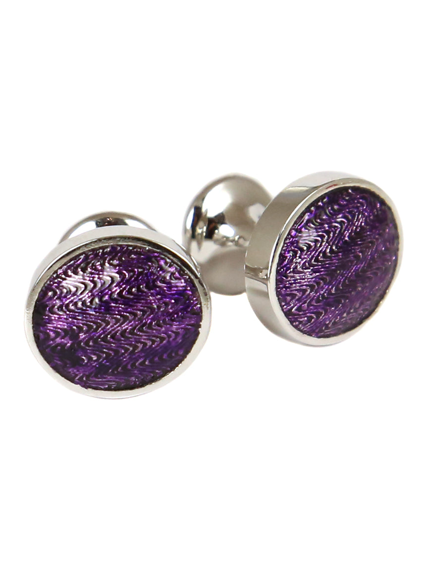 DÉCLIC Faberge Oval Cufflink - Sterling Silver/Purple