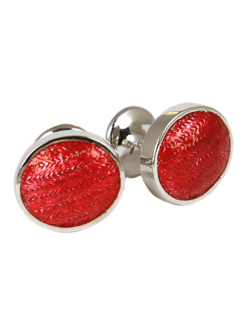 DÉCLIC Faberge Oval Cufflink - Sterling Silver/Red