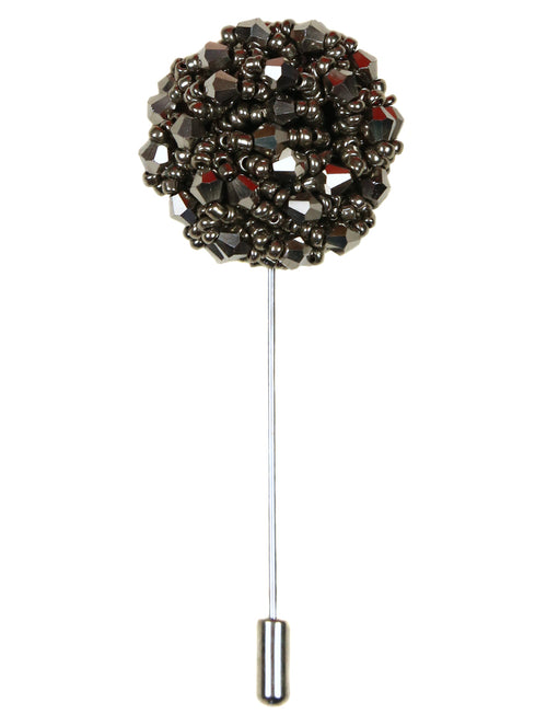 DÉCLIC Beaded Lapel Pin  - Gunmetal