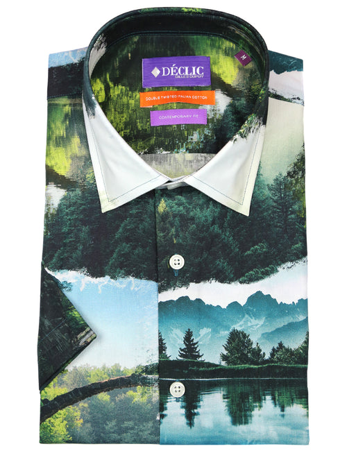 DÉCLIC Scenic Print Short Sleeve Shirt - Assorted