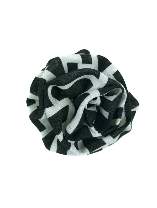 My Boutonnière Silk Lapel Pin - Black & White