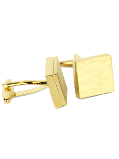 DÉCLIC Brushed Block Cufflink - Gold