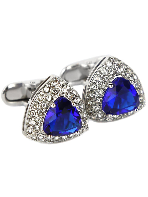 DÉCLIC Diamante Triangle Cufflink - Blue
