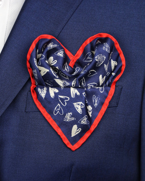 DÉCLIC Heart Sketch Hanky - Navy