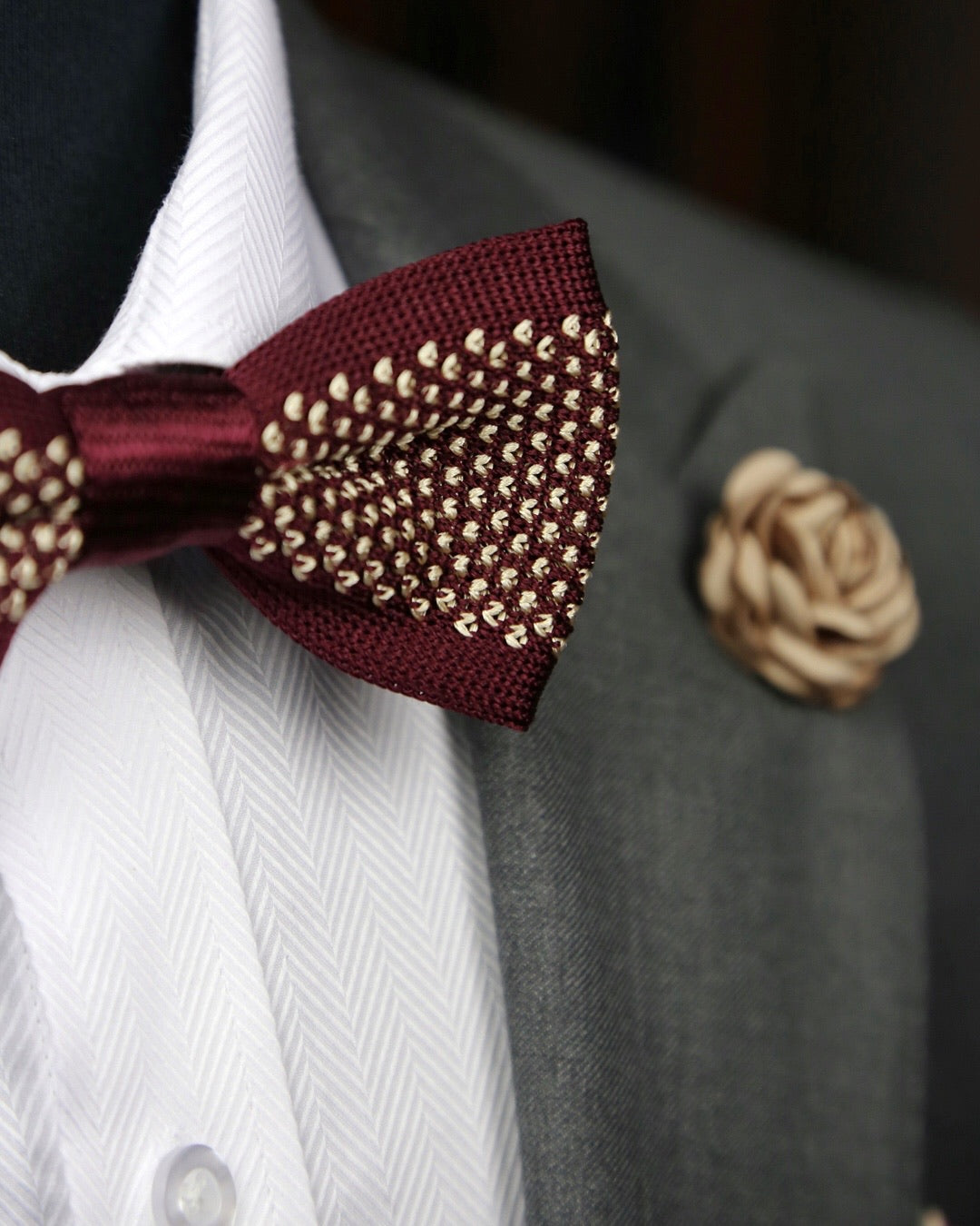 DÉCLIC Briller Knitted Bow Tie - Burgundy