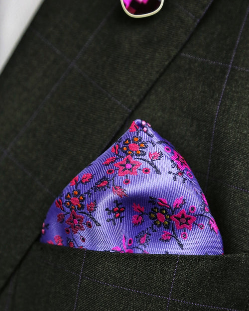 DÉCLIC Annecy Floral Pocket Square - Purple
