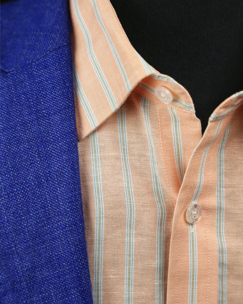 DÉCLIC Jarrow Linen Stripe Shirt - Orange