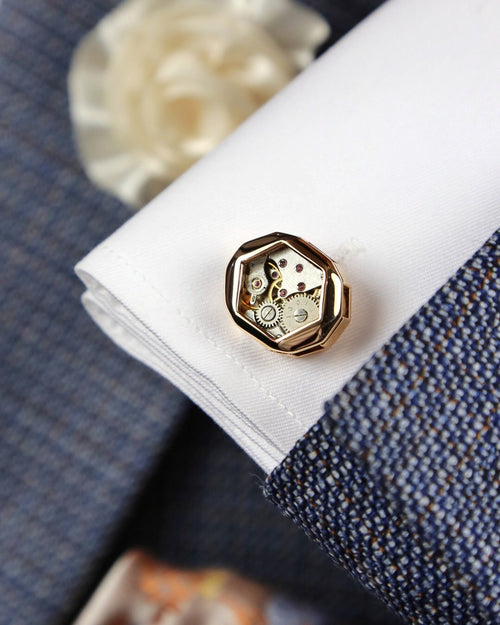 Tateossian Faceted Gear Cufflink - Gold