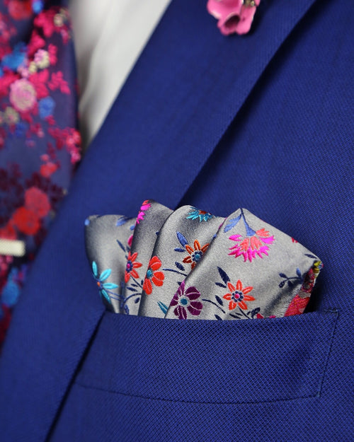 DÉCLIC Eus Floral Pocket Square - Grey