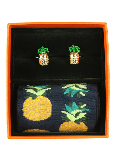 DÉCLIC Pineapple Sock/Cufflink Box Set