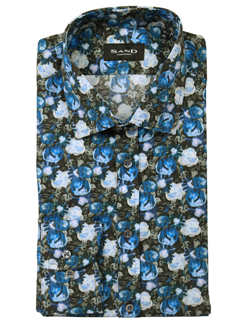 SD Rose Spry Floral Print Shirt - Blue