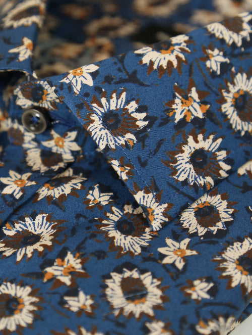 SD Sunflower Print Shirt - Blue