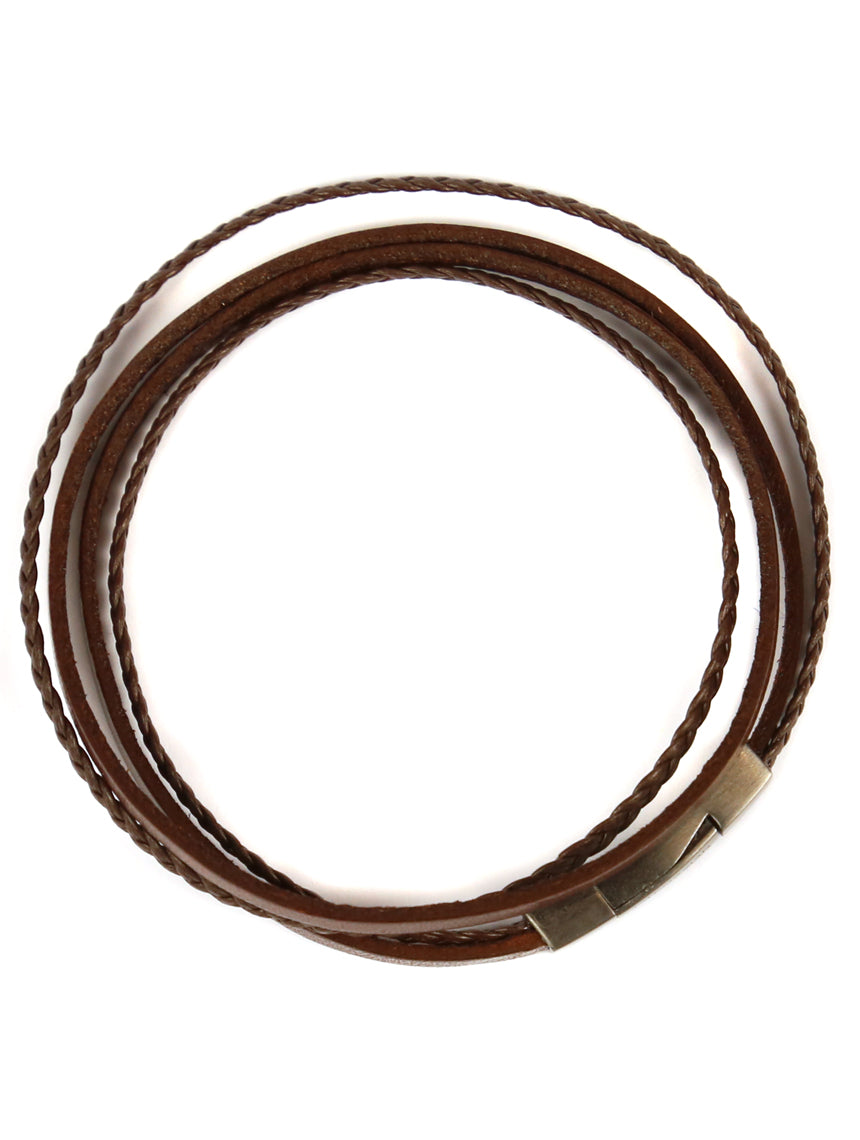 Tateossian Fettuccini Leather/Sterling Bracelet - Brown