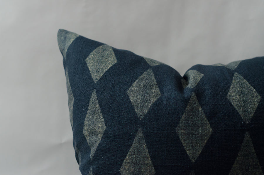 Arlow in Cream on Blue Pillow Cover
