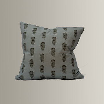 Sadie Pillow Cover in Baby Blue and Brown
