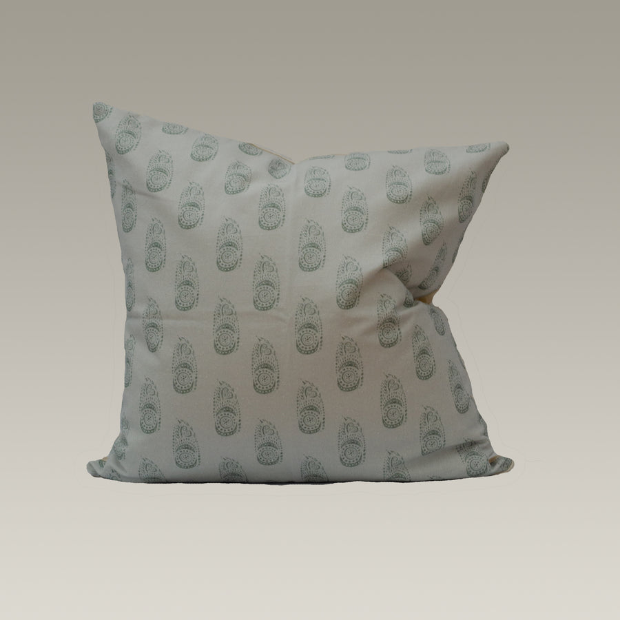 Sadie Pillow Cover in Grey and Light Green