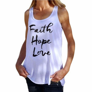 Women Faith Hope Love Letter Tank