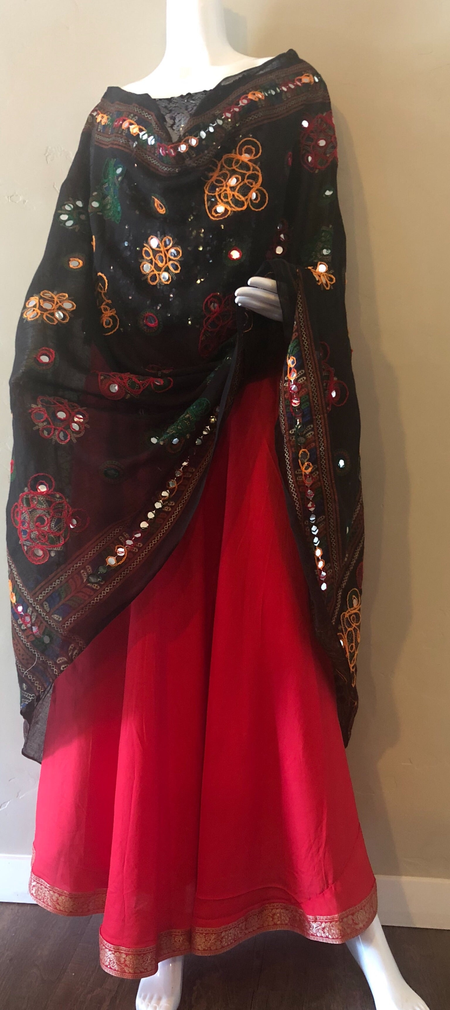Black Color Hand Embroidery With Thread And Mirror Work Dupatta
