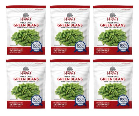 Legacy Premium Emergency Food Storage Essentials Freeze-Dried Green Beans 6 Pack LE6021