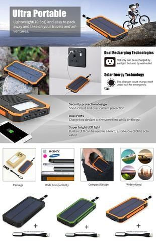 Allpowers Portable 15000Mah Power Bank Solar External Battery For Iphone 5S 6 6S 7 7Plus 8 8S Samsung Htc Sony Etc.