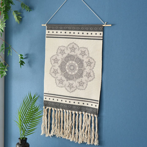 Grey Flower Tassel Tapestry Wall Hanging