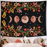 Floral Moon Phase Tapestry