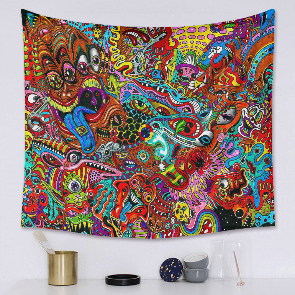Psychedelic Trippy Eyes Wall Tapestry