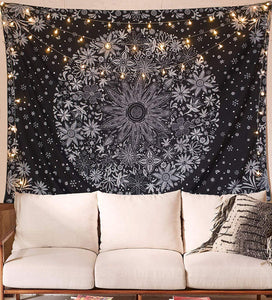 Black Daisy Floral Wall Tapestry