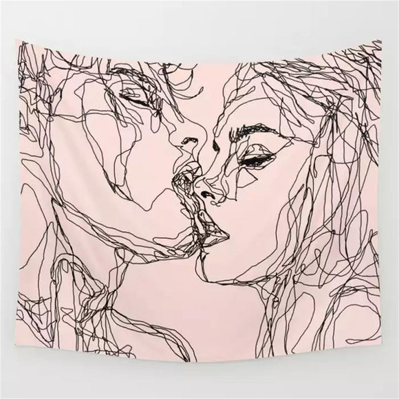 Abstract-Line-Women-Men-Tapestry-Wall-Hanging