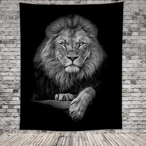 Black-And-White-King-Lion-Tapestry