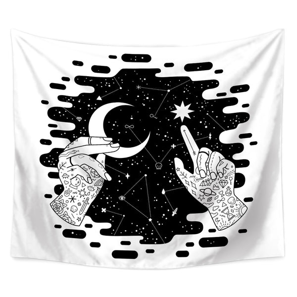 Black And White Starry Luna Wall Tapestry