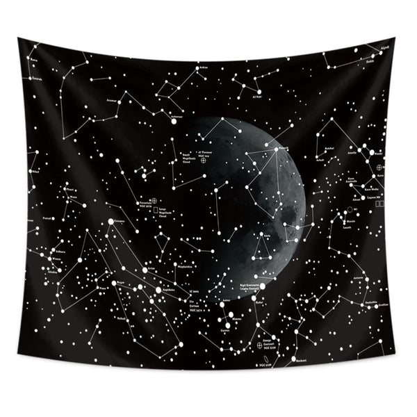 Black And White Constellation Tapestry Galaxy - PYHQ