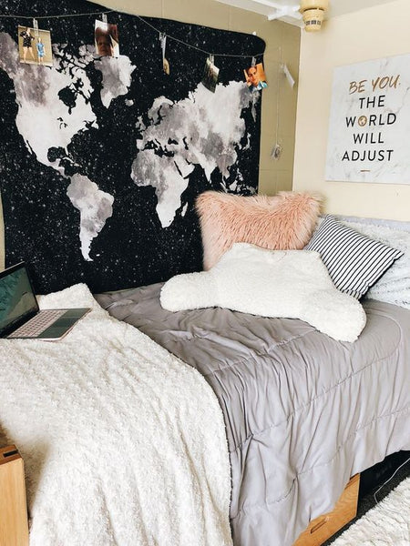 Black Map Wall Tapestry-Dorm