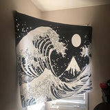 Black and White Ocean Wave Tapestry