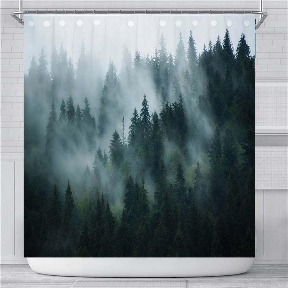 Misty Forest Landscape Shower Curtain