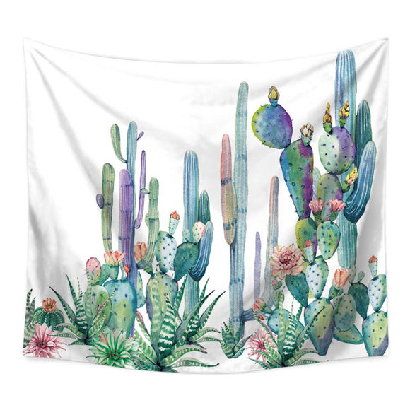 Green Cactus Wall Tapestry Tropical Art - PYHQ