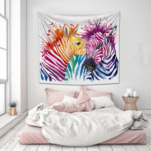 Colorful Zebra Tapestry