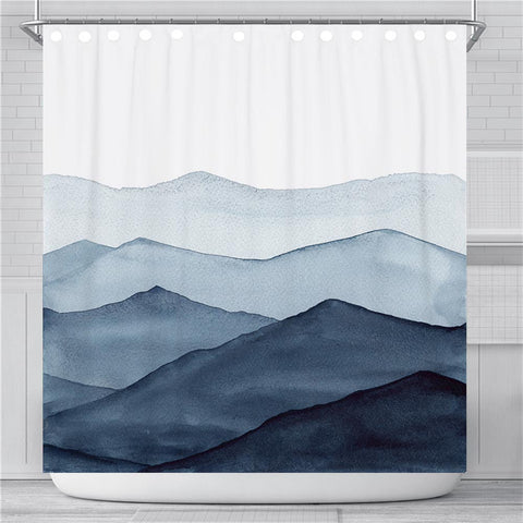 Indigo Abstract Mountain Shower Curtain