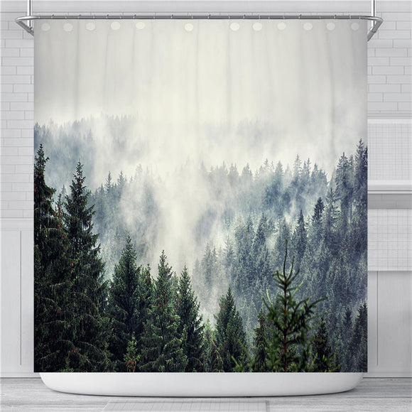 Fog Forest Mountain Shower Curtain