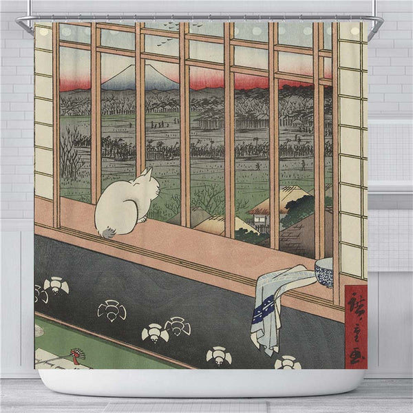 Cat Mountain Japanese Shower Curtain