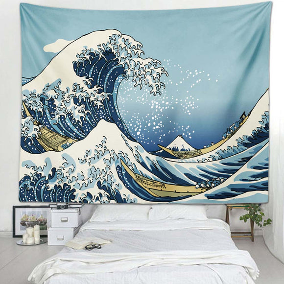 Japanese Ukiyo-e Wave Blue Wall Tapestry