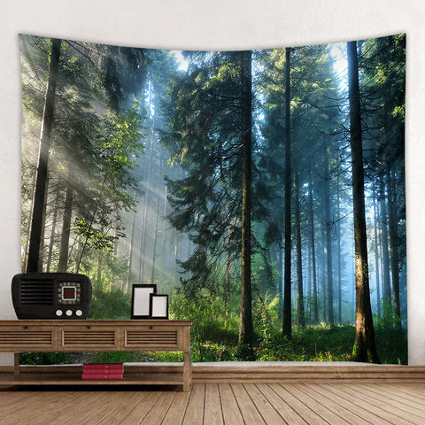 Morning Beautiful Forest Landscape Wall Tapestry