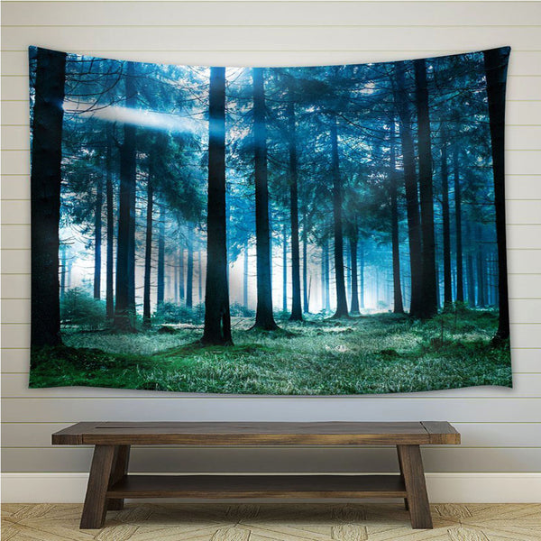 Nature Forest Landscape Tapestry Wall Hanging Blue Light - PYHQ