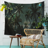 Night Palm Landscape Wall Tapestry