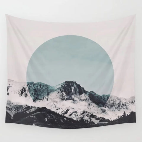Nordic Snow Mountain Landscape Tapestry