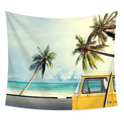 Ocean Yellow Bus Tropical Tapestry