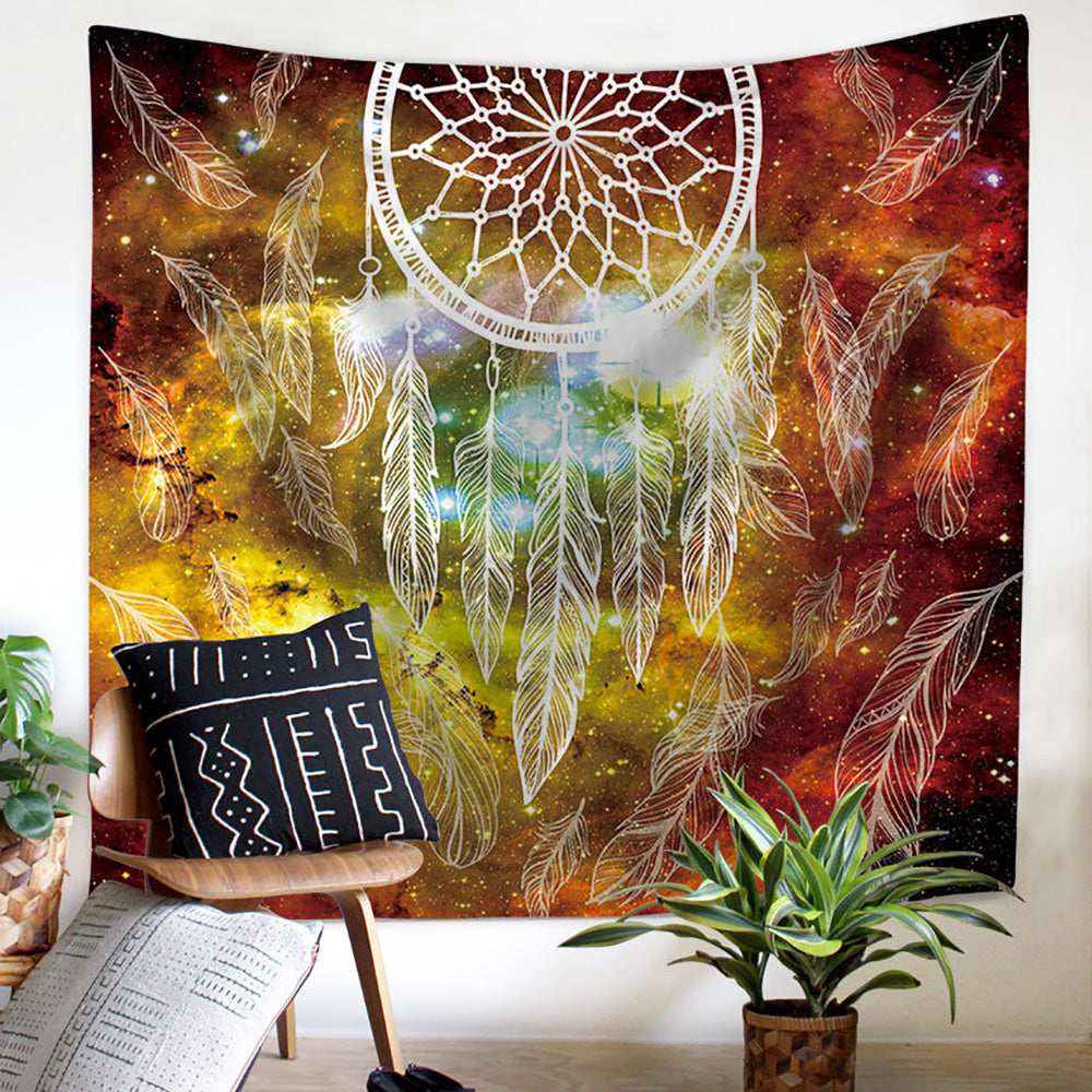 Orange Yellow Dream Catcher Wall Tapestry - PYHQ