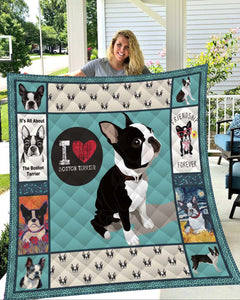 Boston Terrier Dog Quilt Blanket